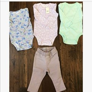 Baby Gap Lot- 3 long sleeve onesies & 1 leggings